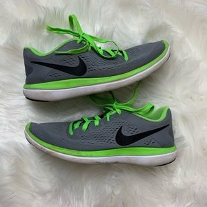 Nike Kids gray and Green Tennis Shoes Sneakers